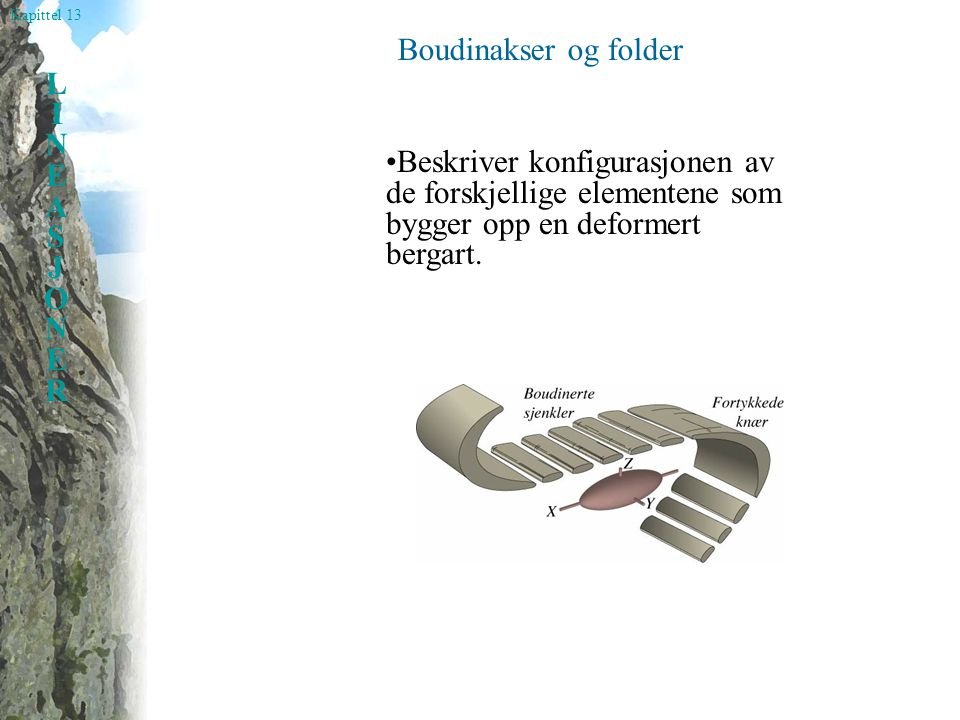 Boudinakser og folder •Beskriver konfigurasjonen av de forskjellige elementene som bygger opp en deformert bergart.