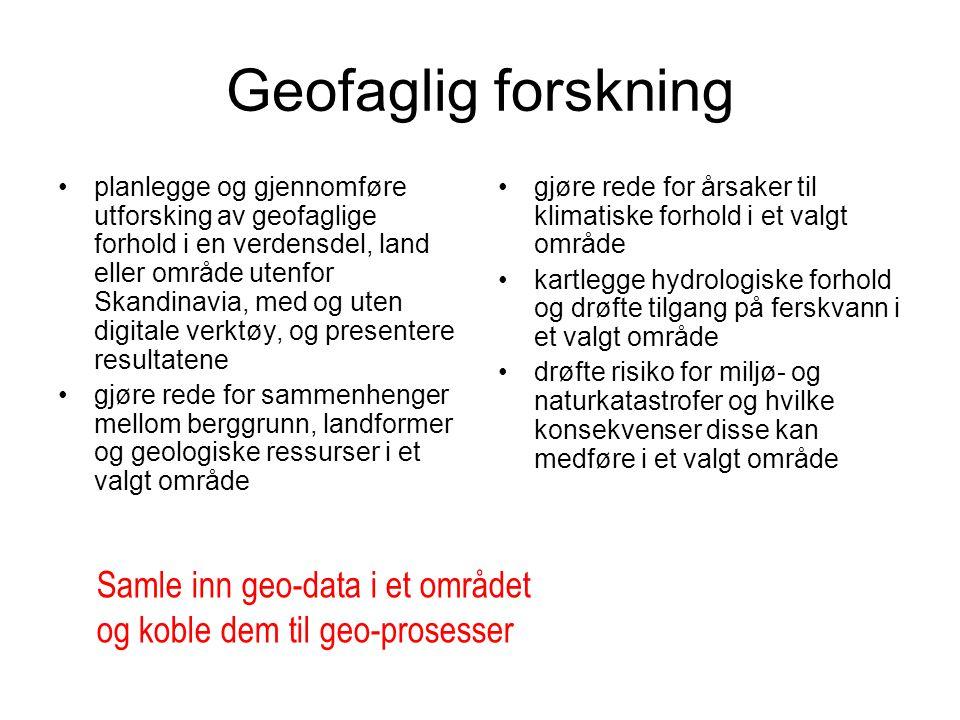 Geofaglig forskning Samle inn geo-data i et området