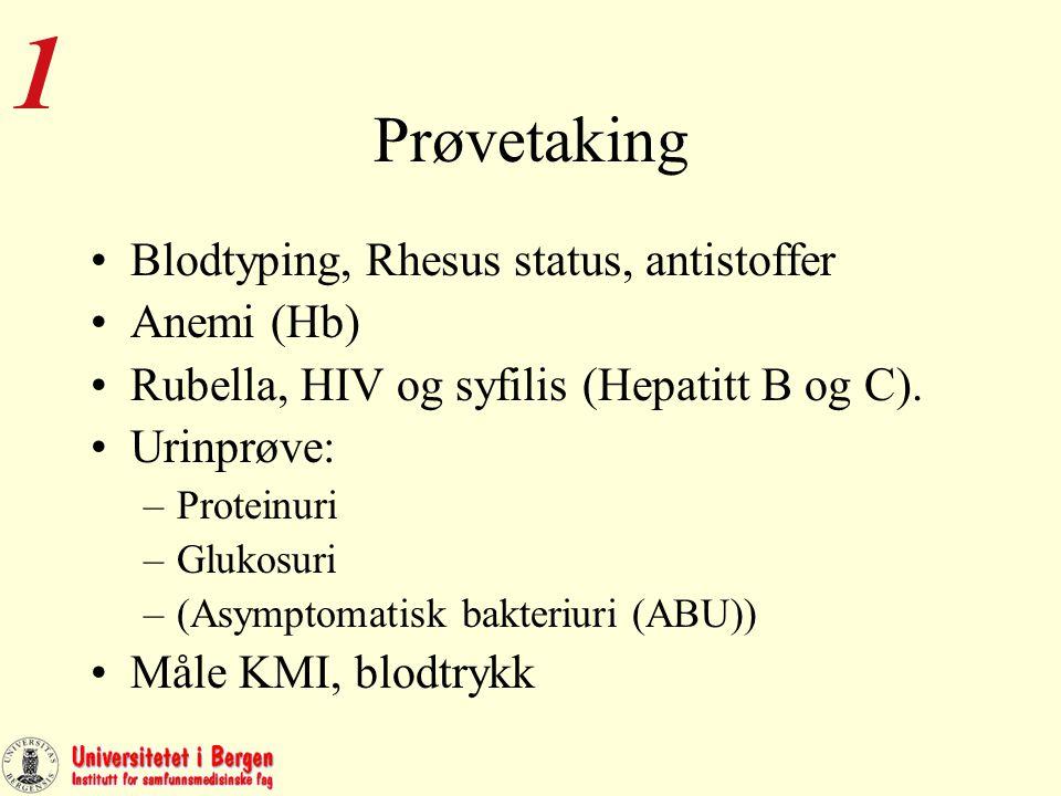 Veiing KMI beregnes ved første kontroll (uke 8-12). Vekt, høyde og KMI noteres på helsekort for gravide.