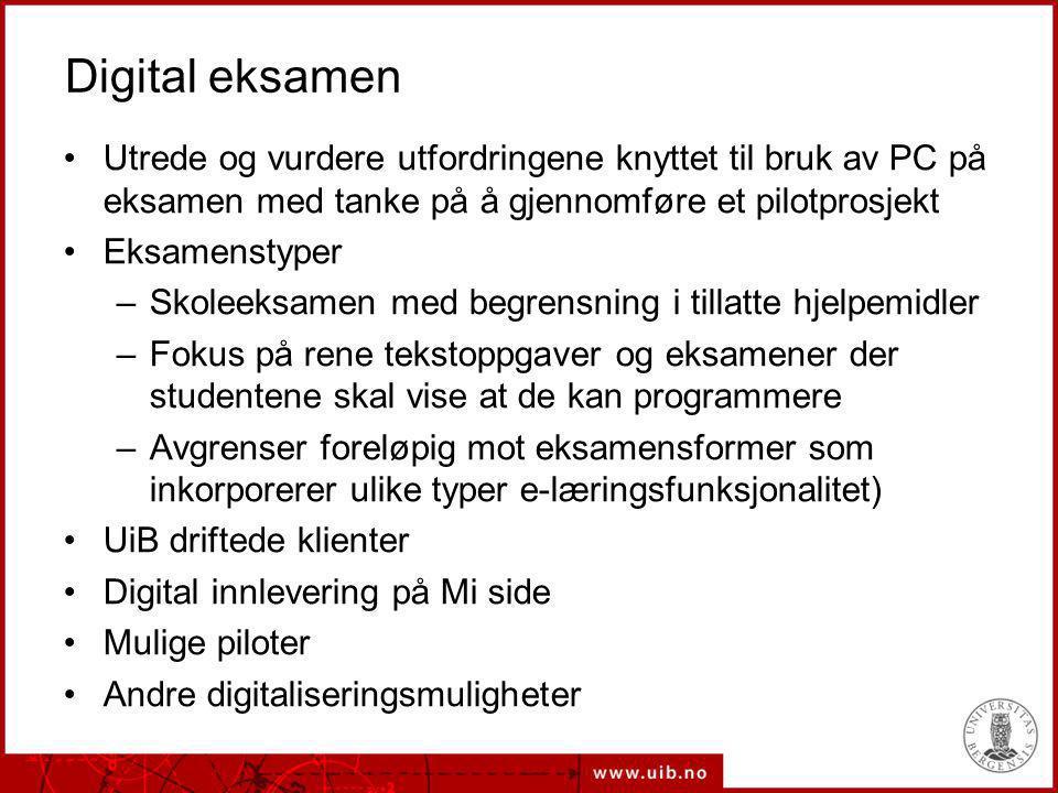 Digital eksamen Utrede og vurdere utfordringene knyttet til bruk av PC på eksamen med tanke på å gjennomføre et pilotprosjekt.