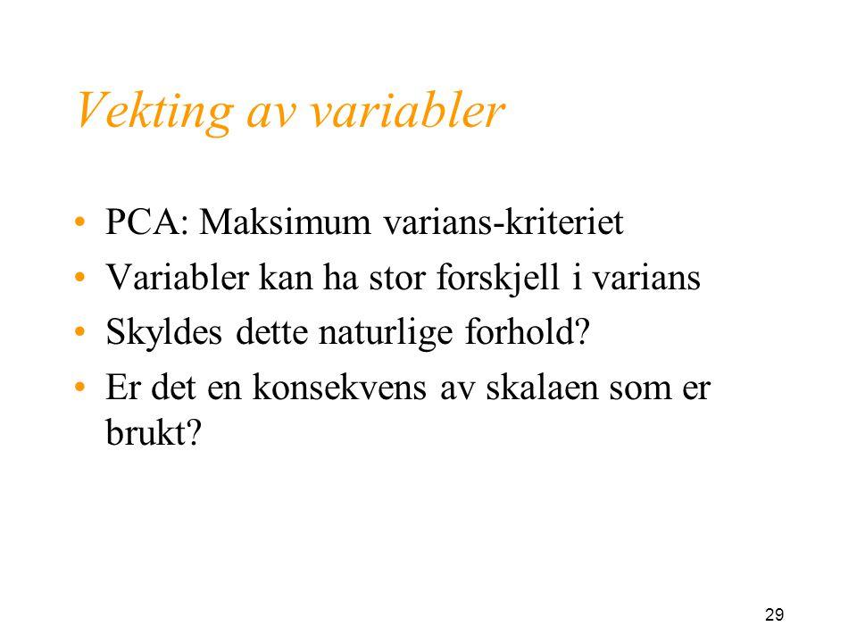 Vekting av variabler PCA: Maksimum varians-kriteriet