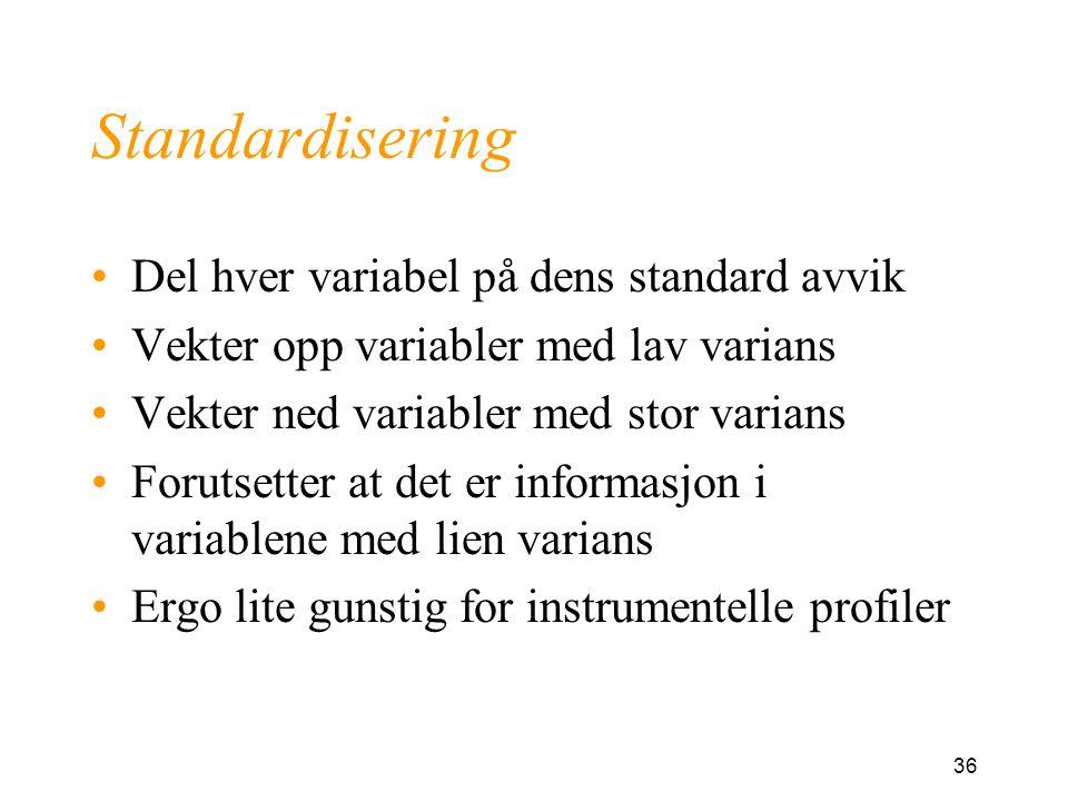 Standardisering Del hver variabel på dens standard avvik