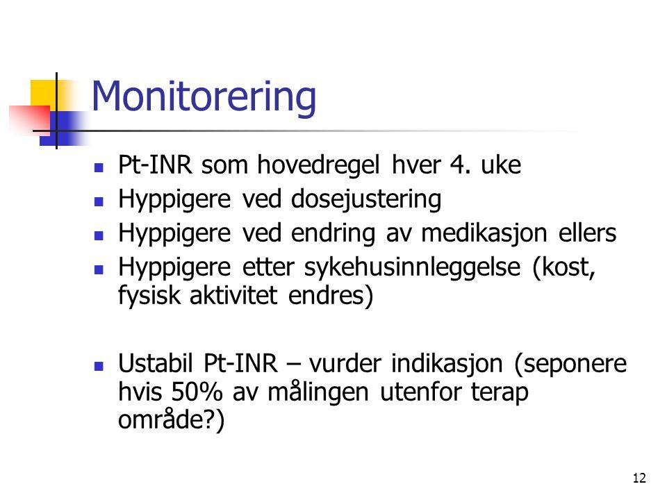 Monitorering Pt-INR som hovedregel hver 4. uke