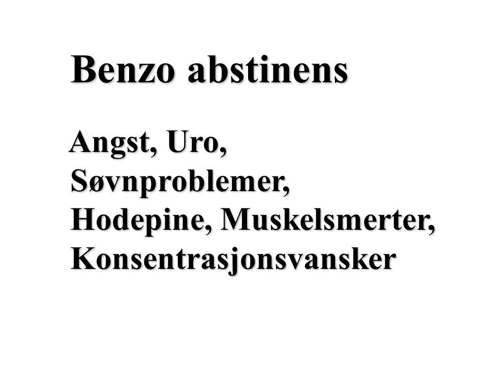 Benzo abstinens Angst, Uro, Søvnproblemer, Hodepine, Muskelsmerter,