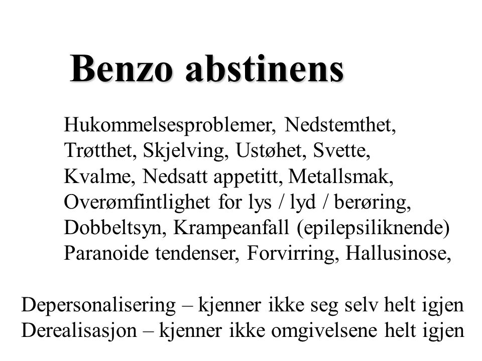 Benzo abstinens