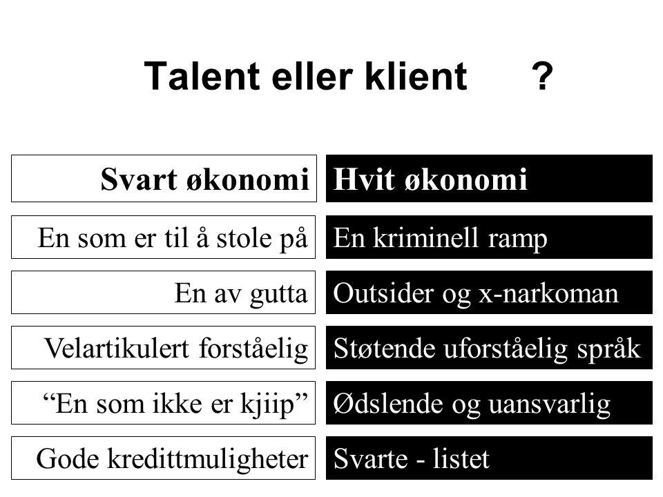 Talent eller klient Svart økonomi Hvit økonomi