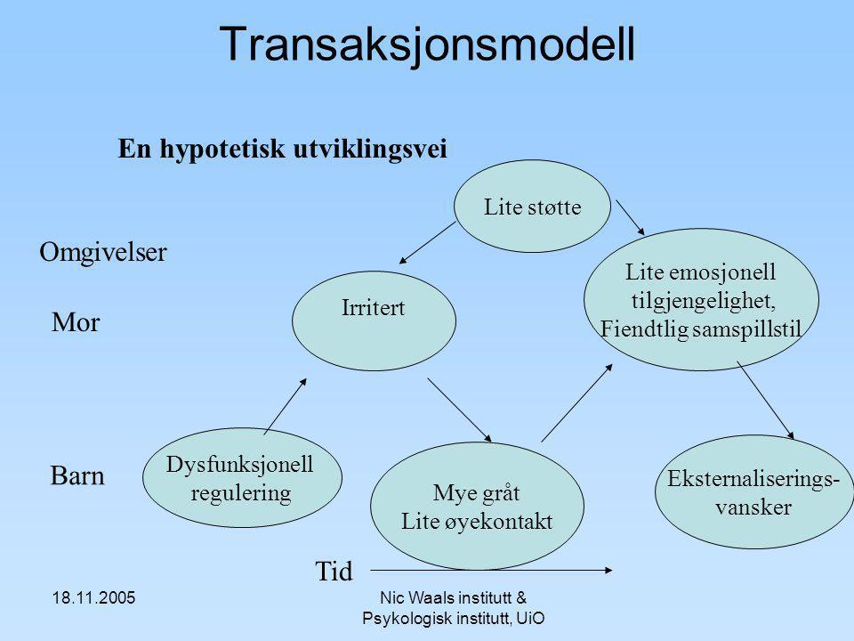 Transaksjonsmodell En hypotetisk utviklingsvei Omgivelser Mor Barn Tid