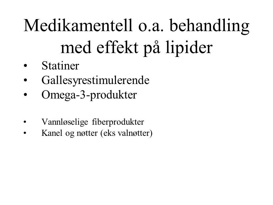 Medikamentell o.a. behandling med effekt på lipider