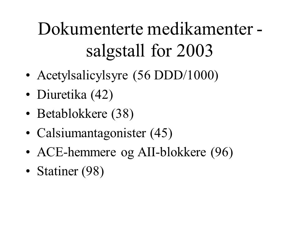 Dokumenterte medikamenter - salgstall for 2003