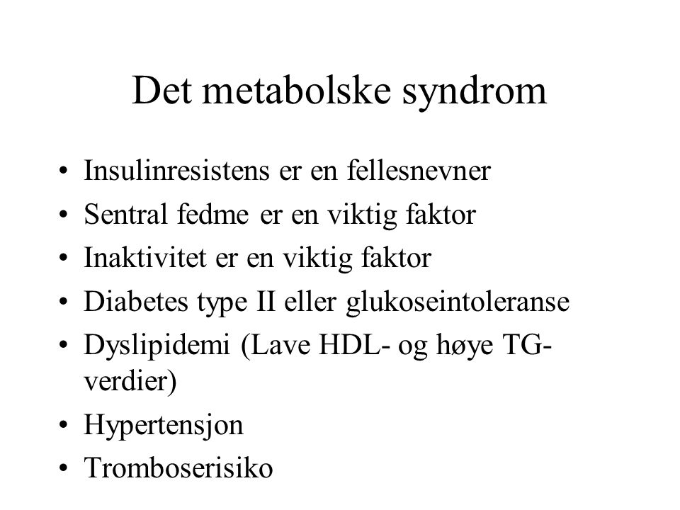 Det metabolske syndrom