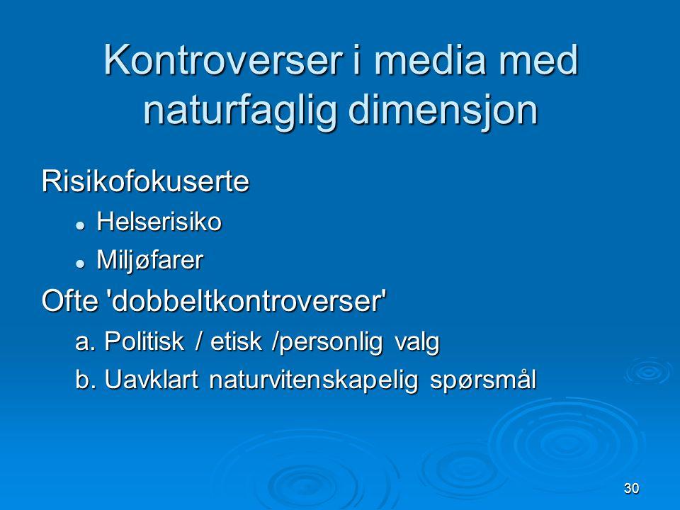 Kontroverser i media med naturfaglig dimensjon