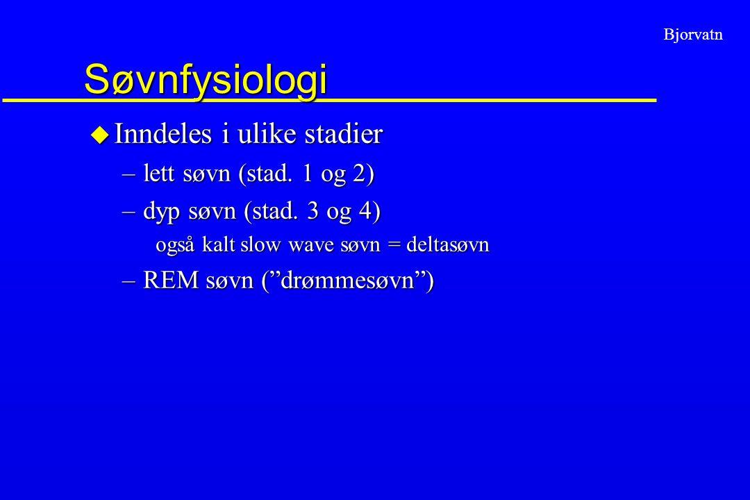 Søvnfysiologi Inndeles i ulike stadier lett søvn (stad. 1 og 2)