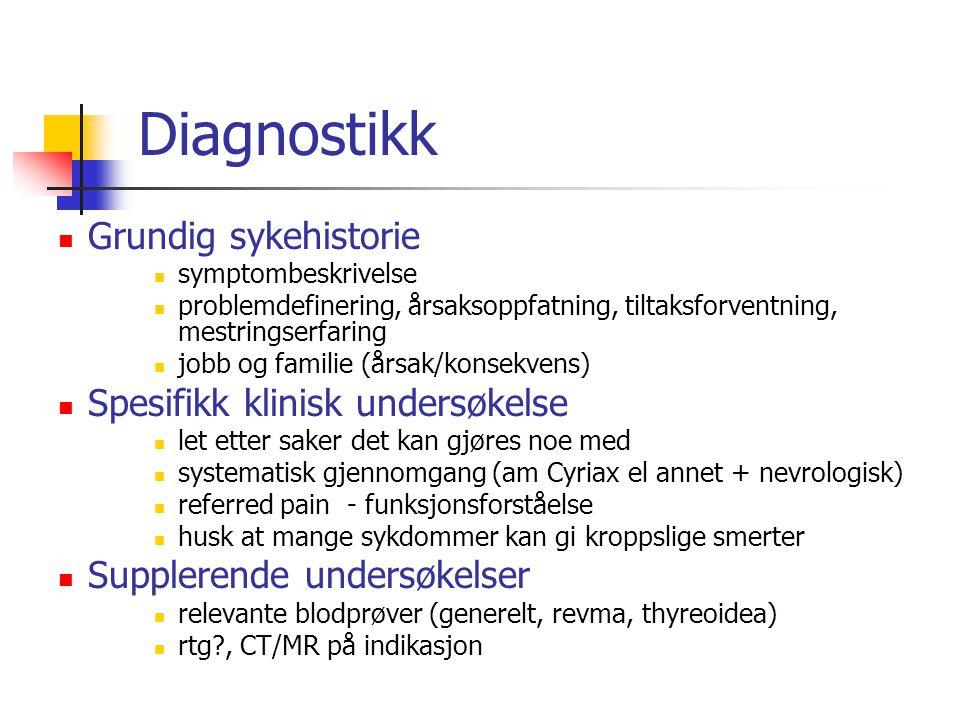 Diagnostikk Grundig sykehistorie Spesifikk klinisk undersøkelse