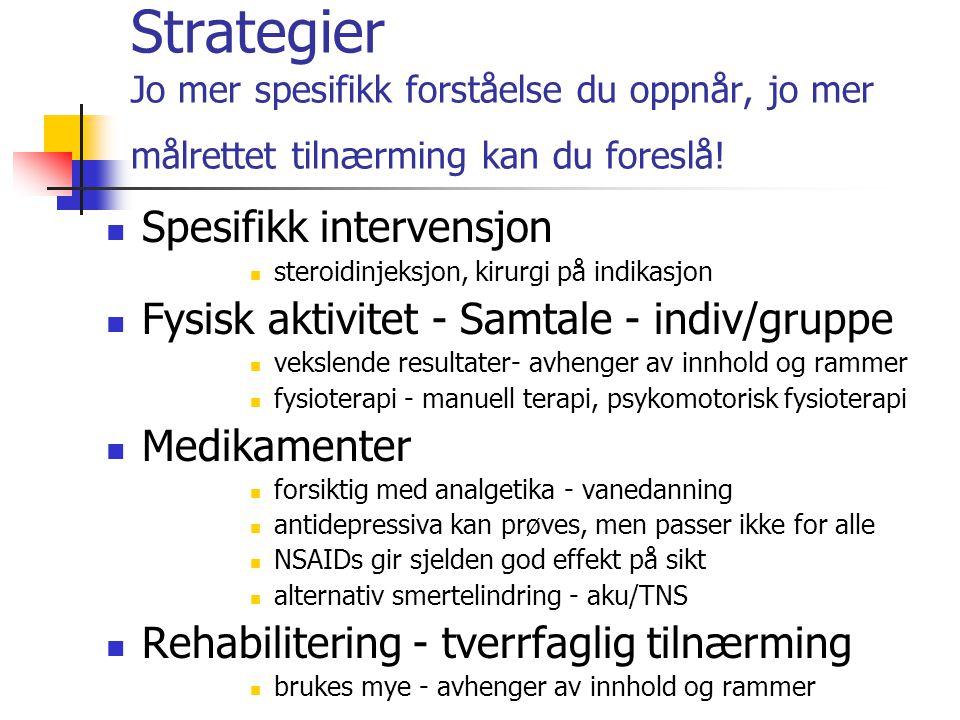 Strategier Jo mer spesifikk forståelse du oppnår, jo mer målrettet tilnærming kan du foreslå!