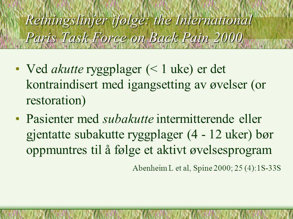 Retningslinjer ifølge: the International Paris Task Force on Back Pain 2000