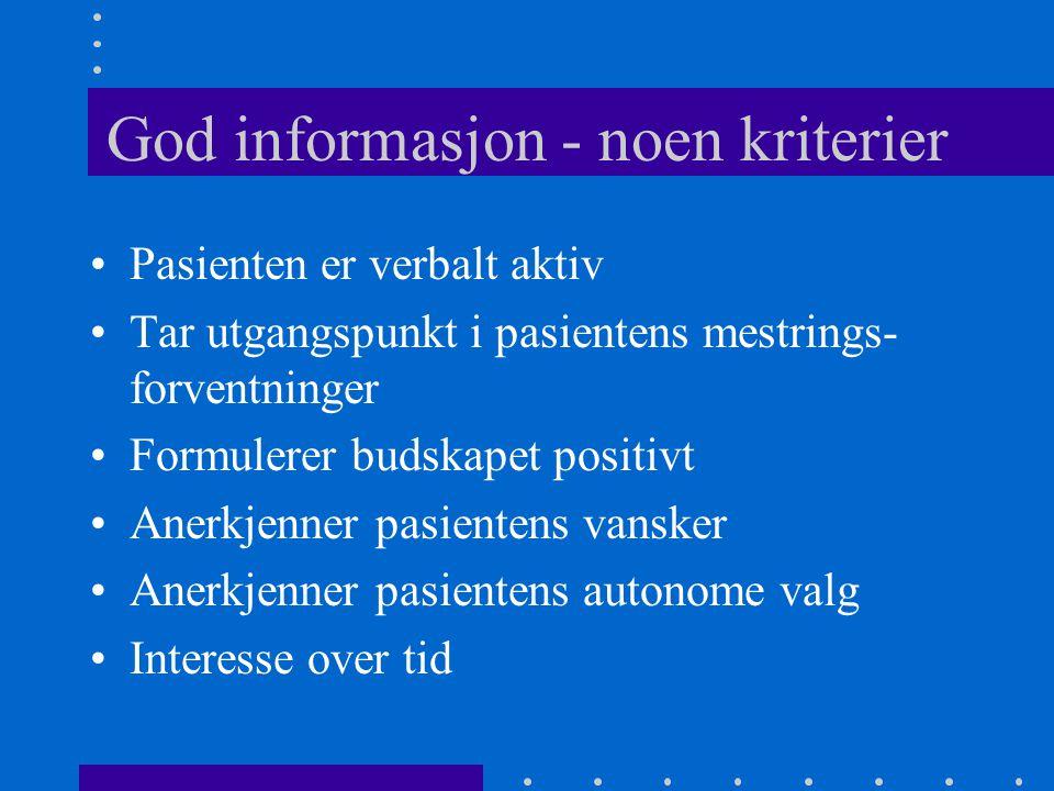 God informasjon - noen kriterier