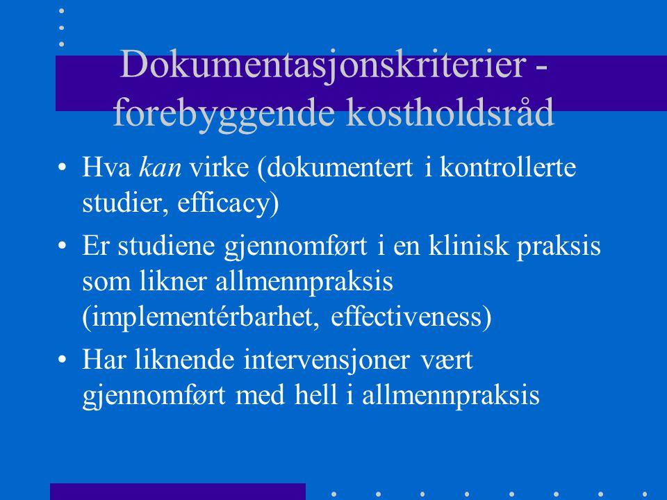 Dokumentasjonskriterier - forebyggende kostholdsråd