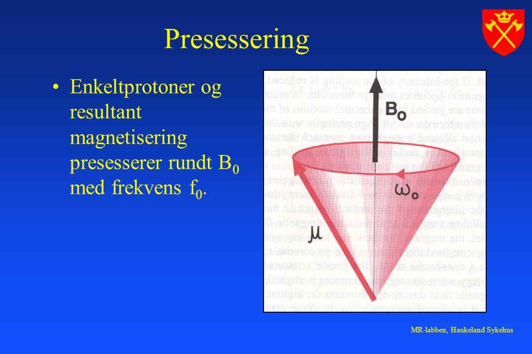 Presessering Enkeltprotoner og resultant magnetisering presesserer rundt B0 med frekvens f0.