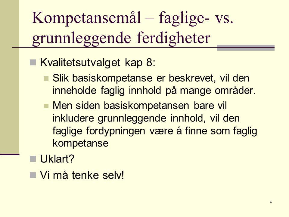 Kompetansemål – faglige- vs. grunnleggende ferdigheter