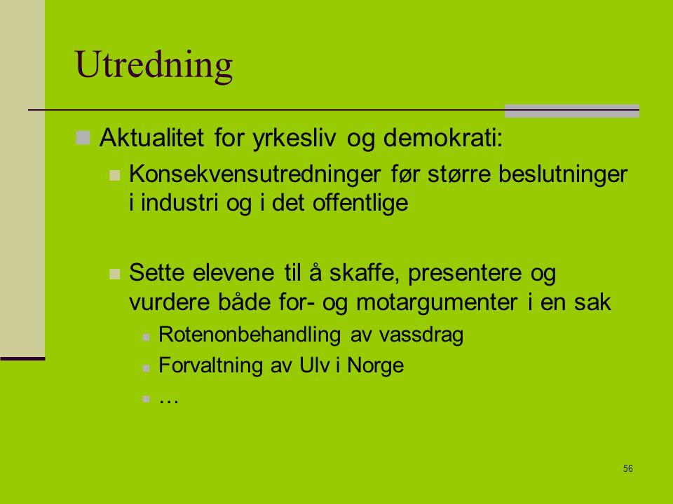 Utredning Aktualitet for yrkesliv og demokrati: