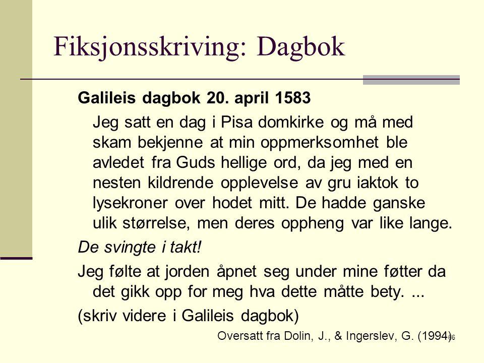 Fiksjonsskriving: Dagbok