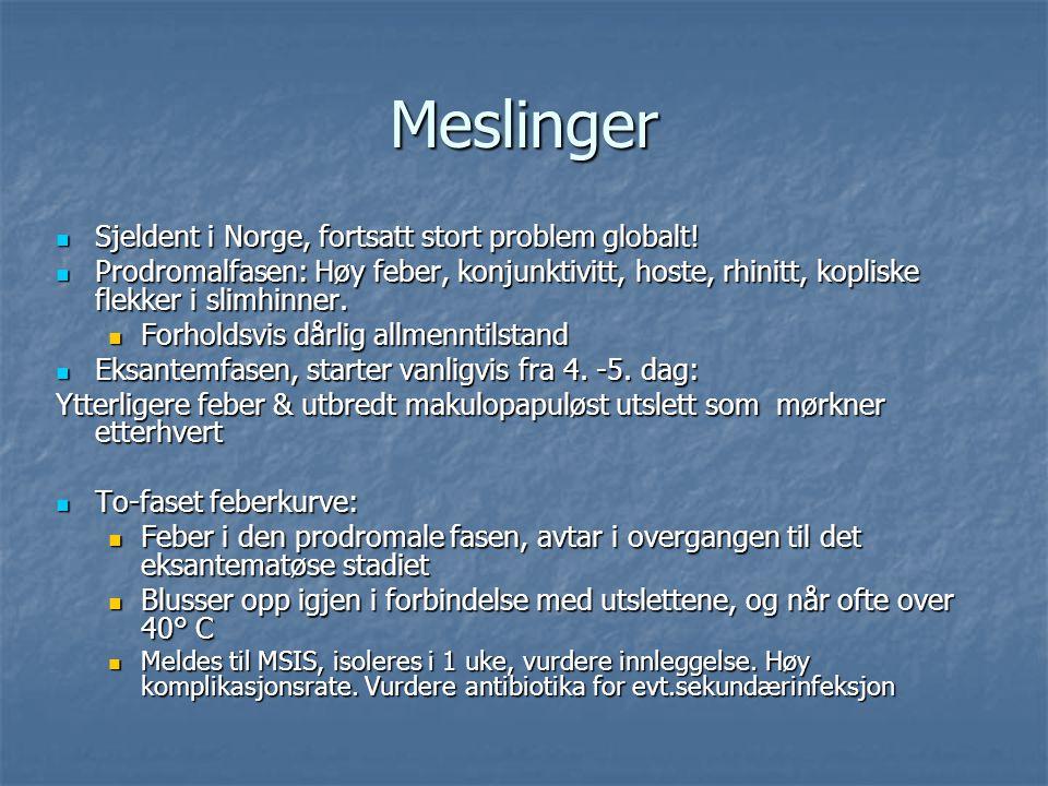 Meslinger Sjeldent i Norge, fortsatt stort problem globalt!