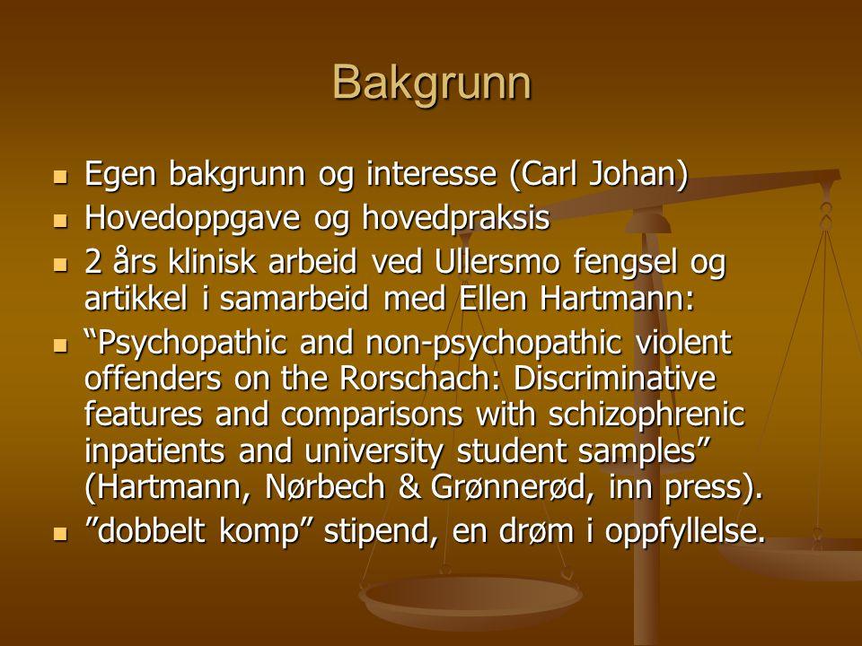 Bakgrunn Egen bakgrunn og interesse (Carl Johan)