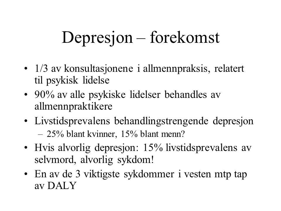 Depresjon – forekomst 1/3 av konsultasjonene i allmennpraksis, relatert til psykisk lidelse.