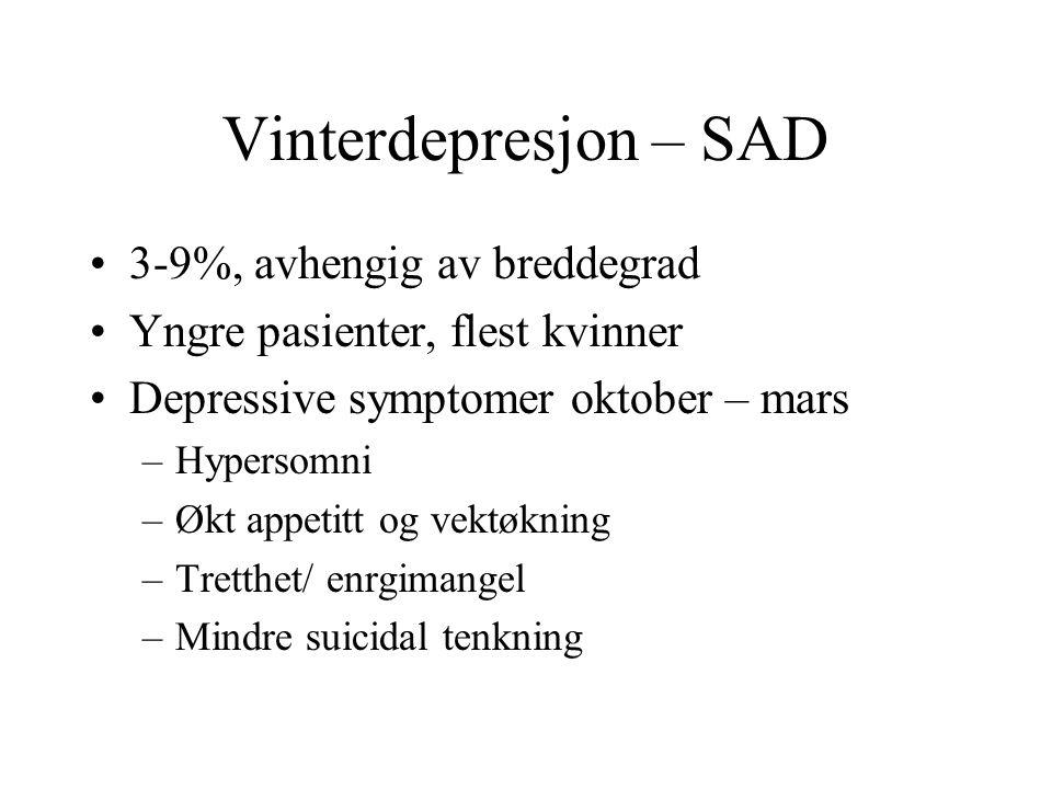 Vinterdepresjon – SAD 3-9%, avhengig av breddegrad