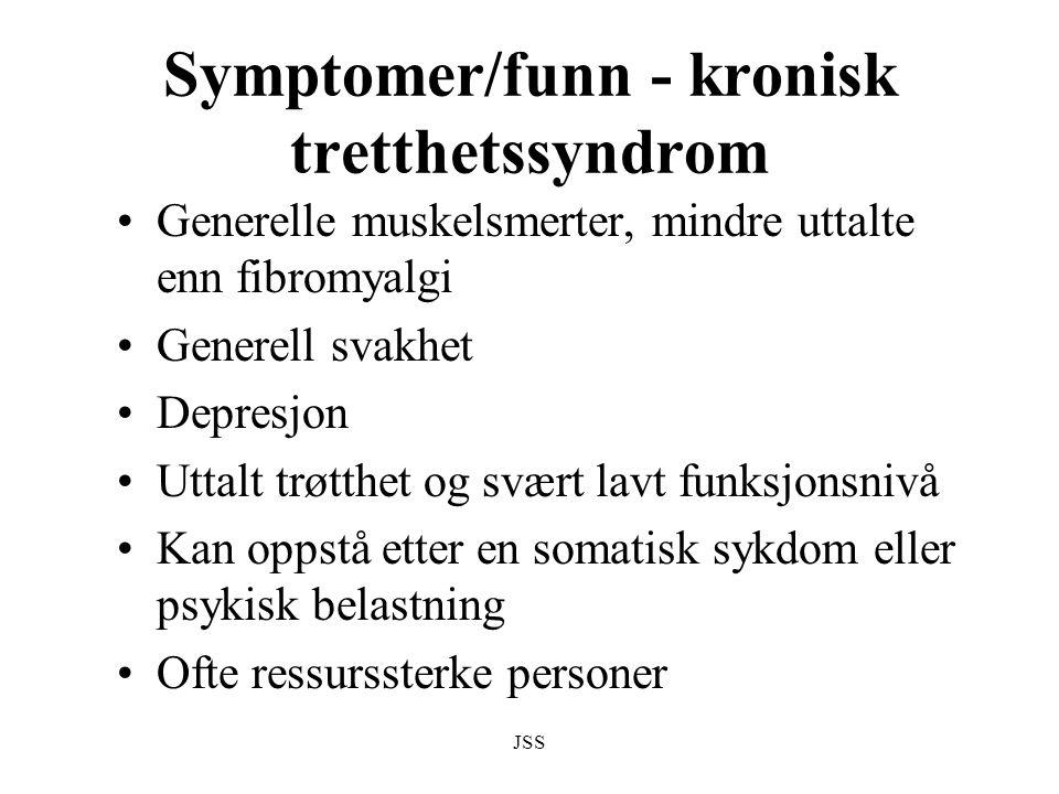 Symptomer/funn - kronisk tretthetssyndrom