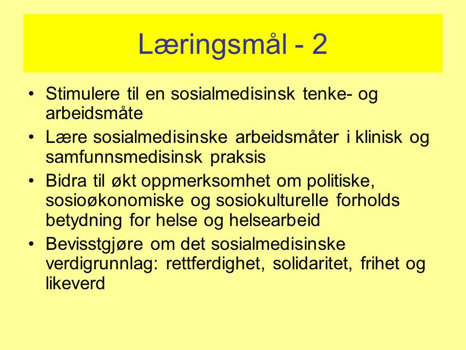 Læringsmål - 2 Stimulere til en sosialmedisinsk tenke- og arbeidsmåte