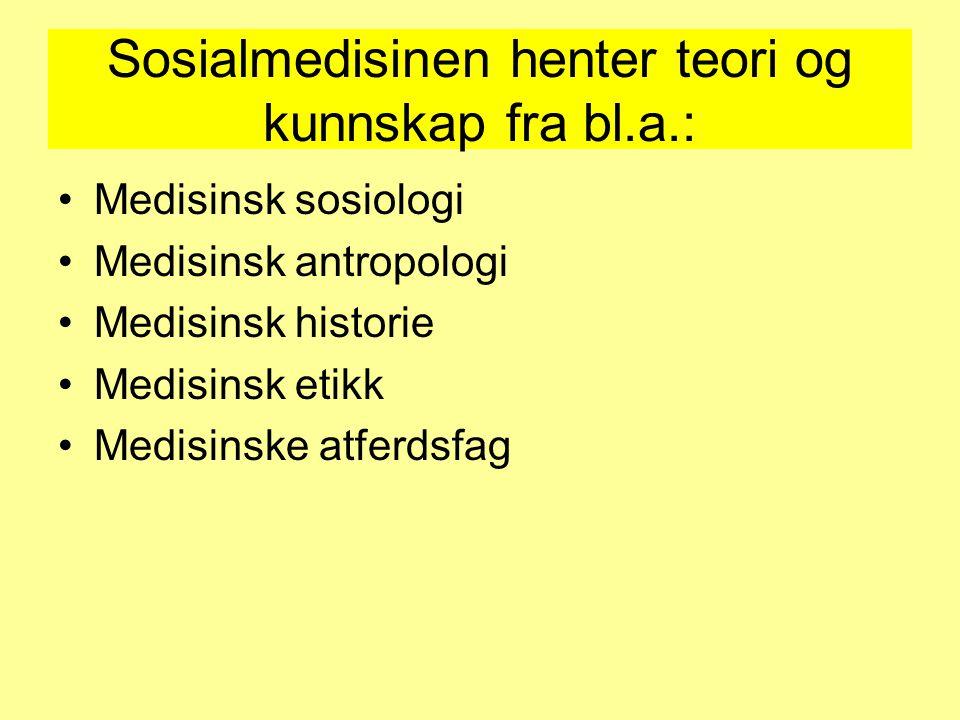 Sosialmedisinen henter teori og kunnskap fra bl.a.: