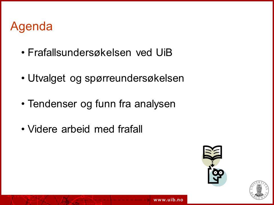 Agenda Frafallsundersøkelsen ved UiB Utvalget og spørreundersøkelsen