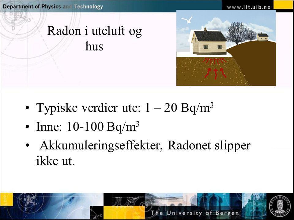 Radon i uteluft og hus Typiske verdier ute: 1 – 20 Bq/m3.