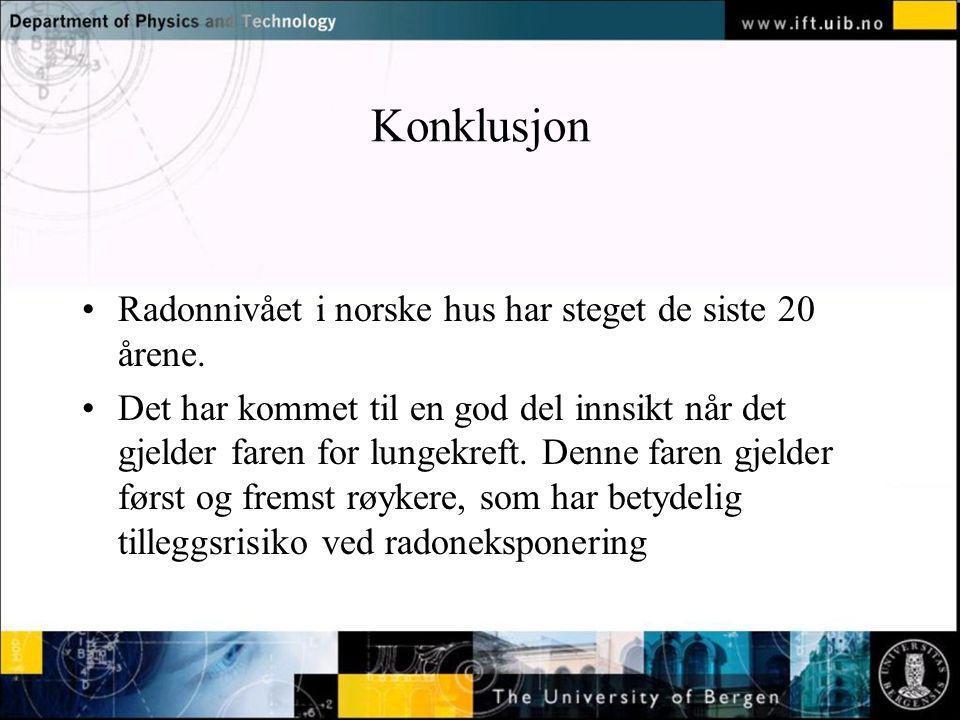 Konklusjon Radonnivået i norske hus har steget de siste 20 årene.