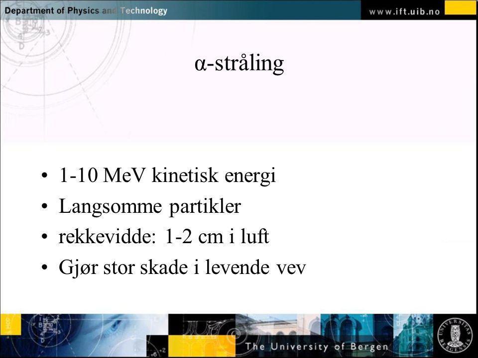 α-stråling 1-10 MeV kinetisk energi Langsomme partikler
