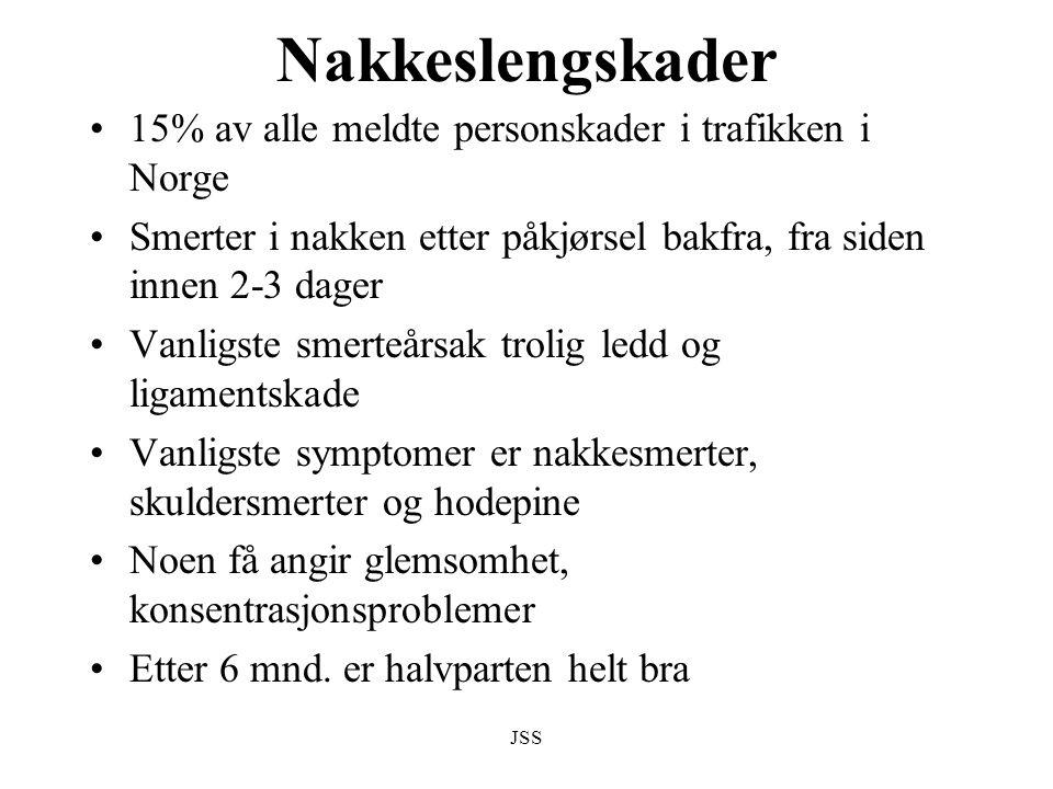 Nakkeslengskader 15% av alle meldte personskader i trafikken i Norge
