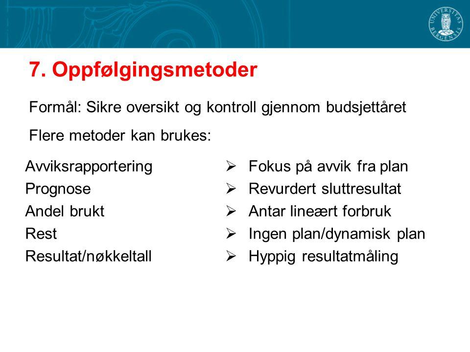 7. Oppfølgingsmetoder Formål: Sikre oversikt og kontroll gjennom budsjettåret. Flere metoder kan brukes: