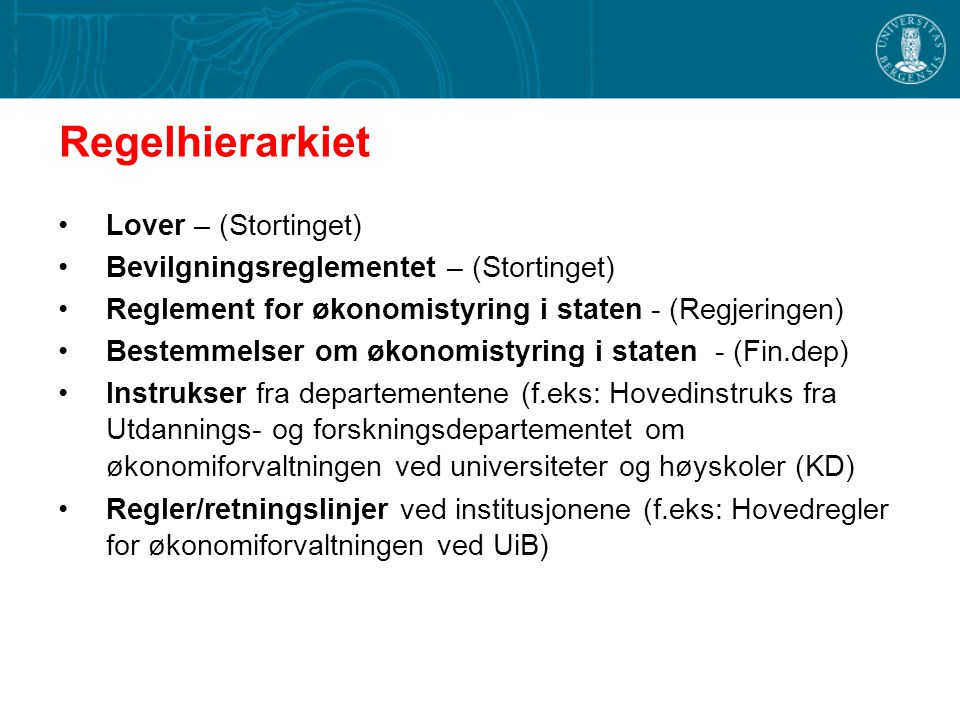 Regelhierarkiet Lover – (Stortinget)
