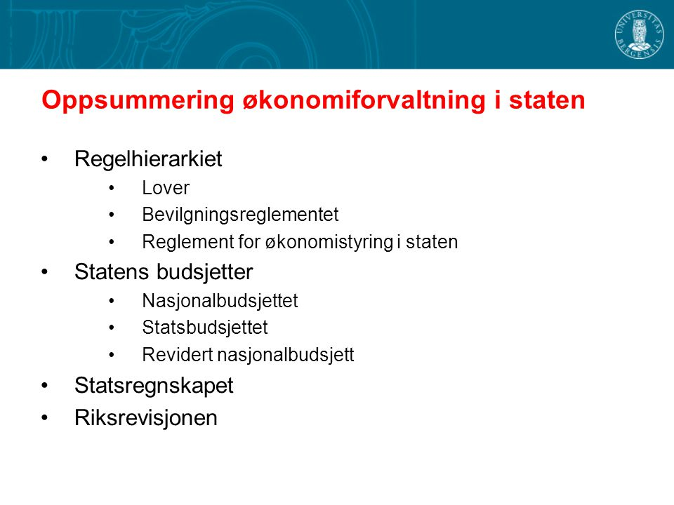 Oppsummering økonomiforvaltning i staten