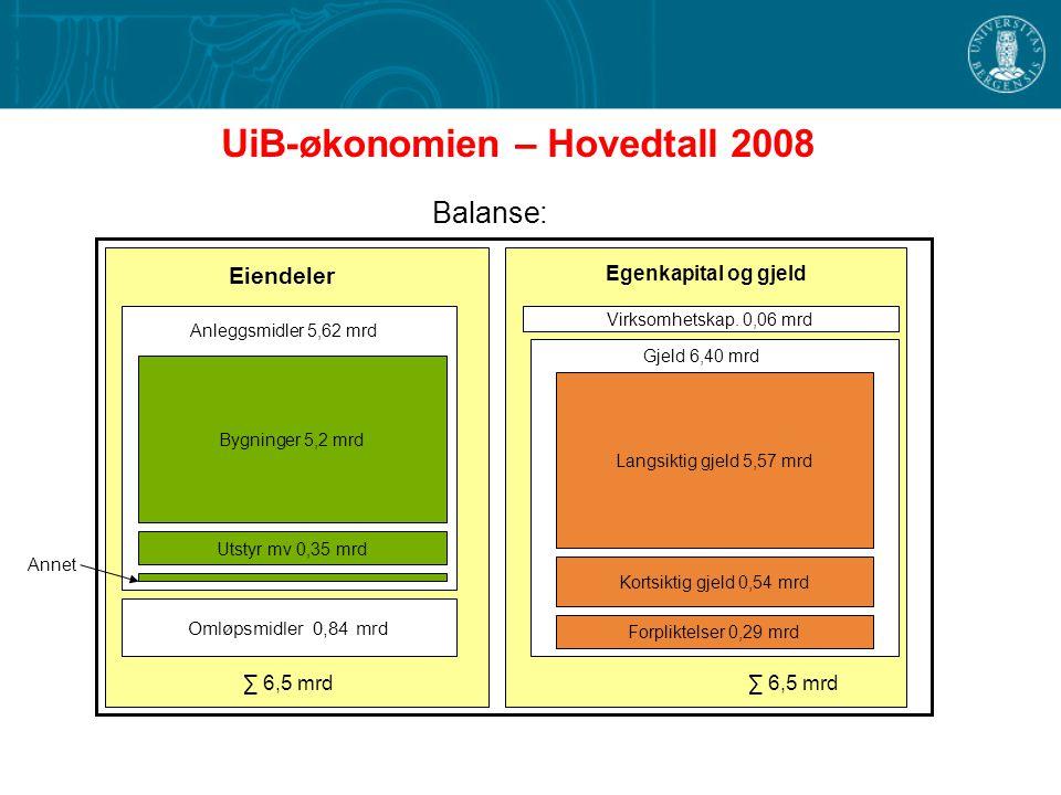 UiB-økonomien – Hovedtall 2008