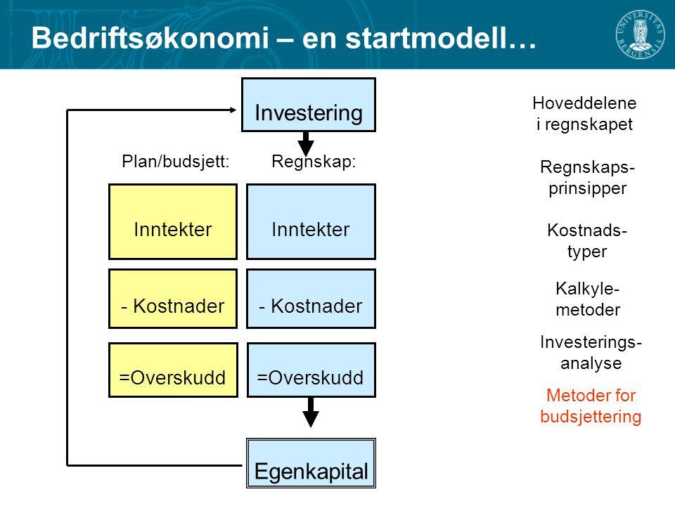 Bedriftsøkonomi – en startmodell…