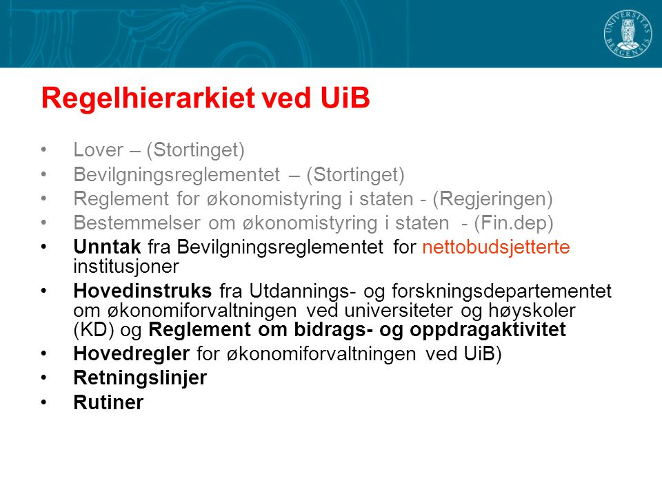 Regelhierarkiet ved UiB