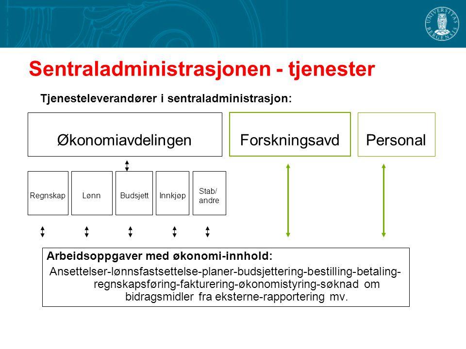 Sentraladministrasjonen - tjenester