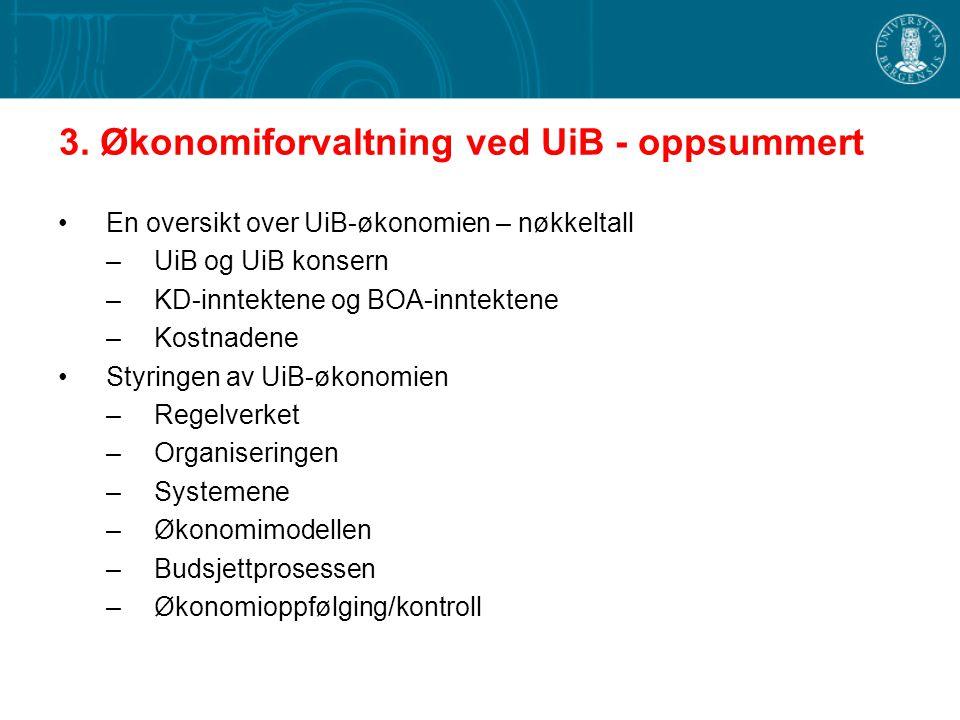 3. Økonomiforvaltning ved UiB - oppsummert