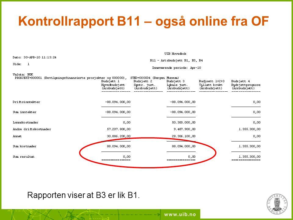 Kontrollrapport B11 – også online fra OF