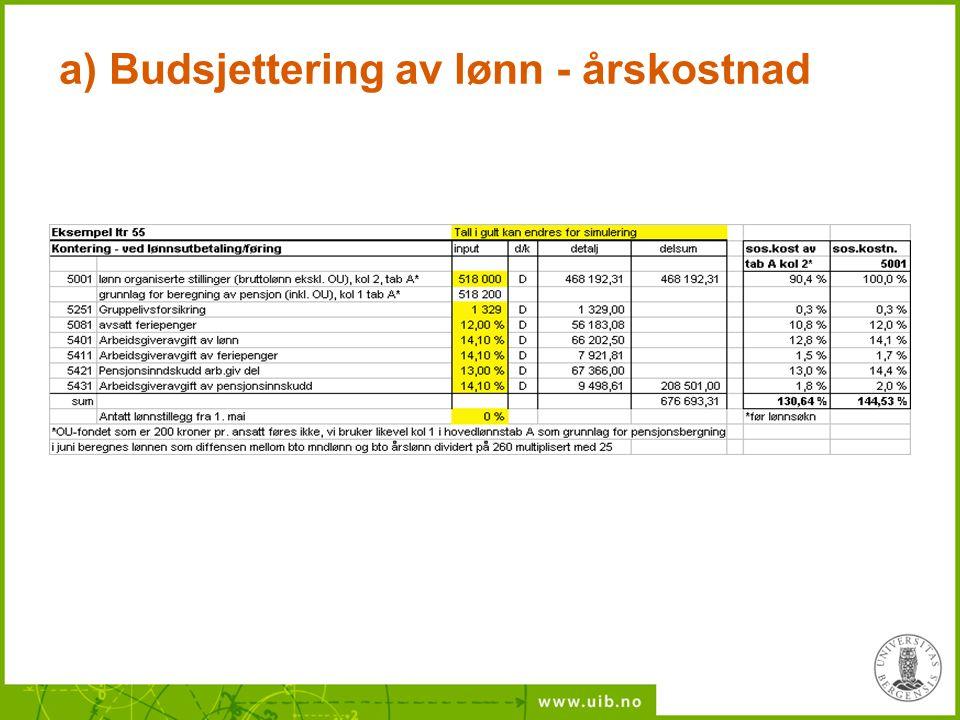 a) Budsjettering av lønn - årskostnad