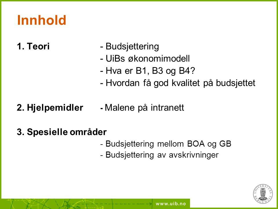 Innhold 1. Teori - Budsjettering - UiBs økonomimodell
