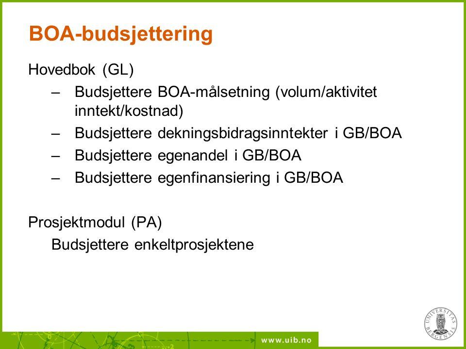 BOA-budsjettering Hovedbok (GL)