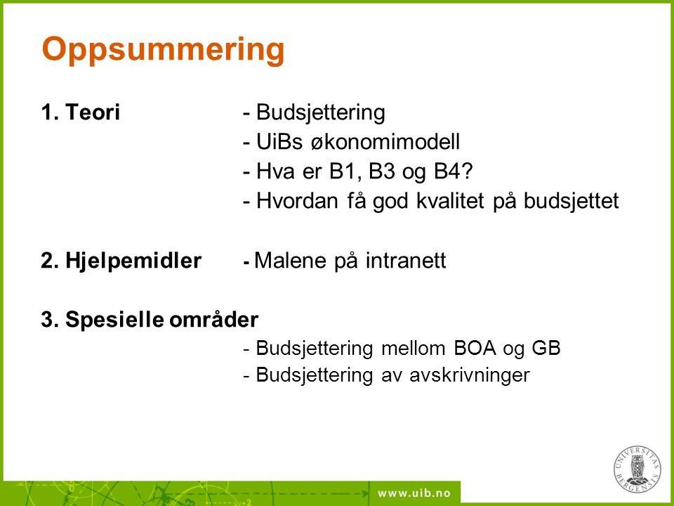 Oppsummering 1. Teori - Budsjettering - UiBs økonomimodell